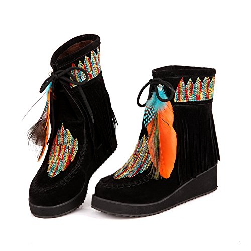 Boots Womens 1TO9 Black Tassels Platform Embroidered Urethane HXHqaSvx