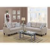 Living Room Sofa Loveseat Tufted Cushion Beige Polyfiber 2pc Set Pillows  Bobkona Couch Wooden Legs
