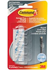 Command Round Cord Clips, Small, Clear, 4 Clips 5 Small Strips