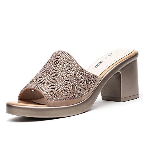 Verano de tacones altos con zapatillas frescas señoras/Fuera desgaste sandalias brillantes B