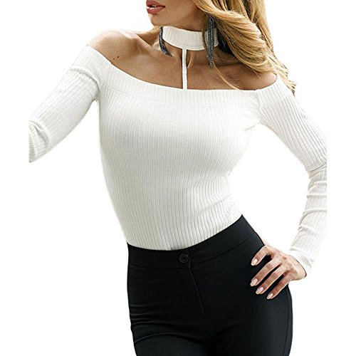 Women Sexy Choker Halter Knitted Long Sleeve Rompers Bodysuit