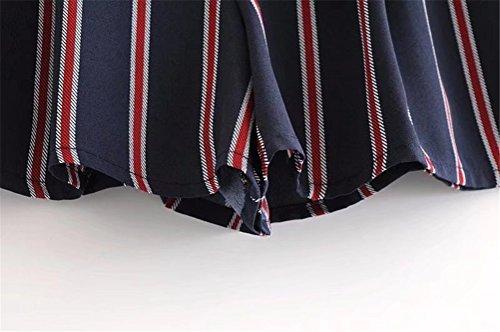 Grande Oudan Nœuds Aux Shorts Bleu Foncé Imprimé Papillon Avec Rayures Taille Femme EFFSTqH
