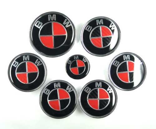 2pcs Replacement Round Black Red Carbon 82mm Hood 82mm Trunk Bright Emblem Logo Badge For Bayerische Motor Wheel Car