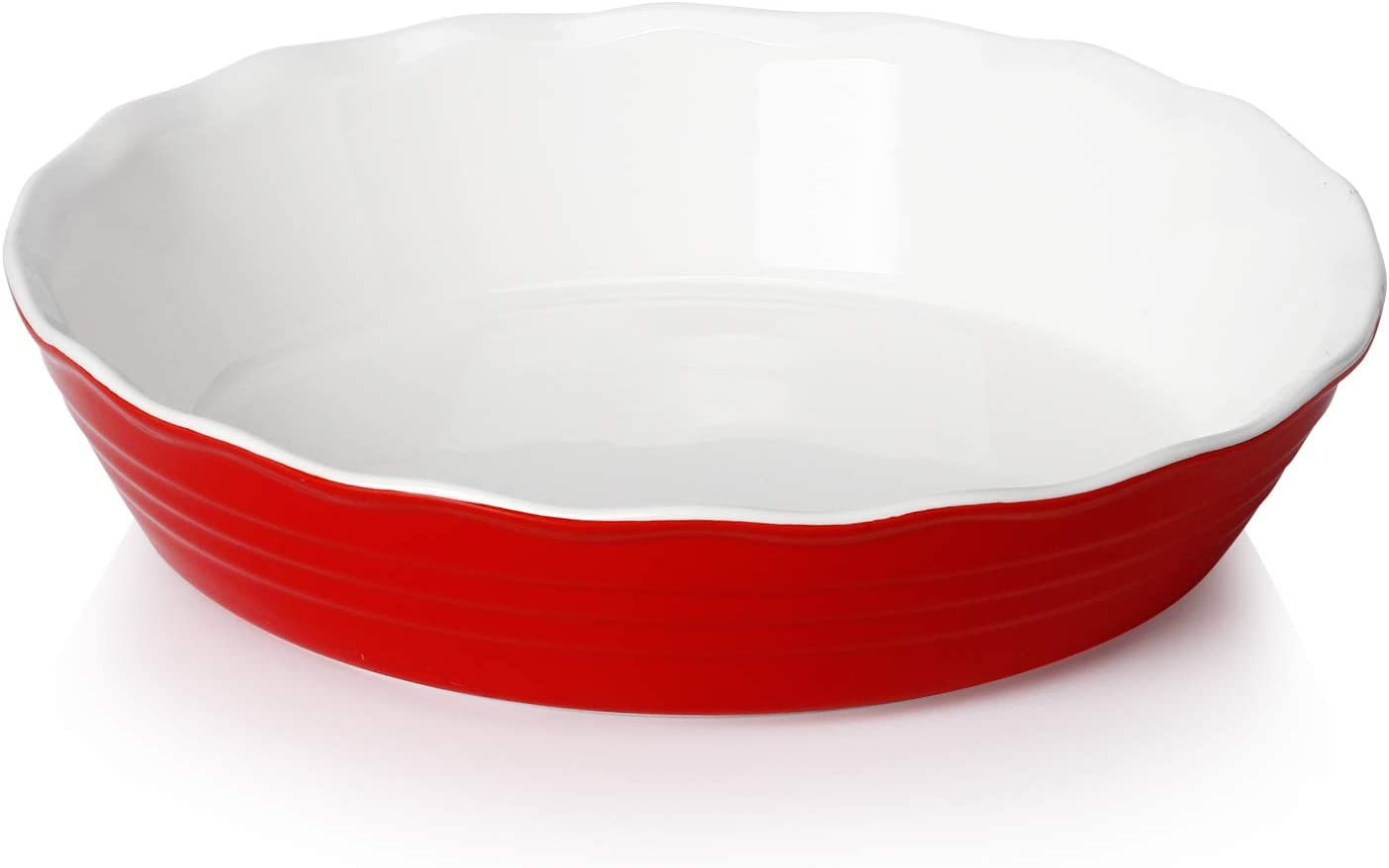 Sweese 516.104 Porcelain Pie Pan, 9 Inches Pie Plate, Round Baking Dish with Ruffled Edge, Red