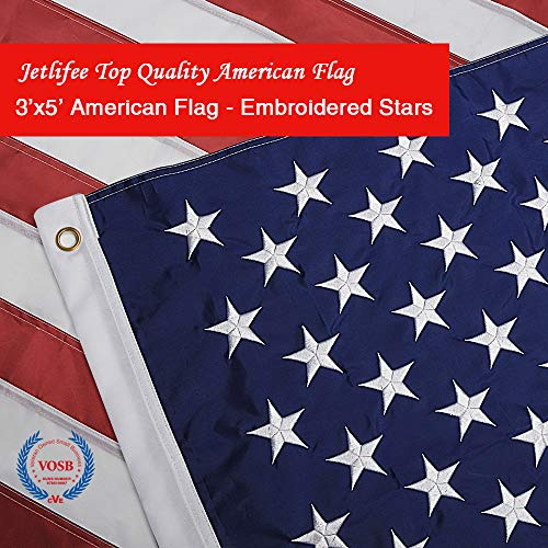 Jetlifee American Flag 3x5 Ft - by U.S. Veterans Owned Biz. Heavyweight Nylon Embroidered Stars, Sewn Stripes, Brass Grommets US Flag.Outdoors Indoors USA Flags Polyester 3 x 5 Foot.