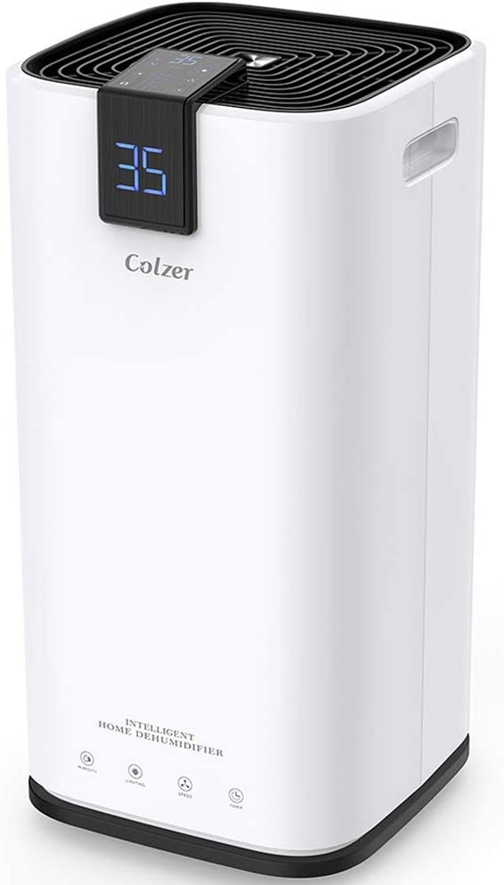 Colzer 70 Pints Portable Dehumidifier, Large Capacity, Compact Dehumidifier for Home, Bathroom, Kitchen, Bedroom, for Spaces Up to 4000 Sq Ft, Continuous Drain Hose Outlet 70 Pint