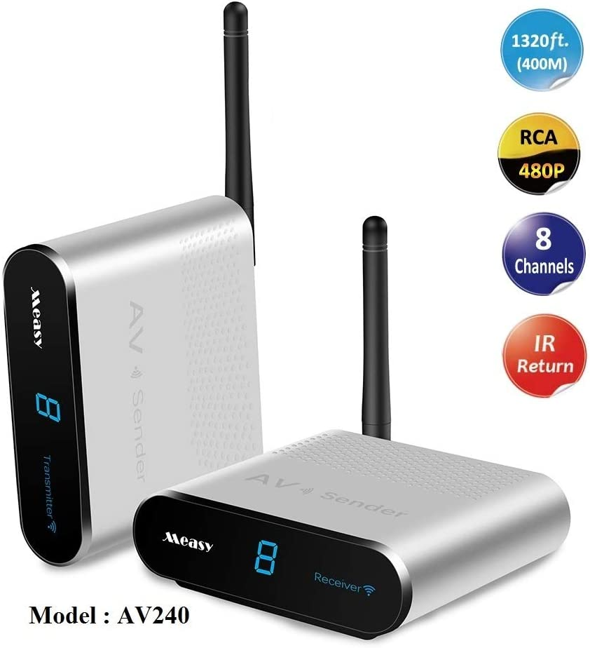 MEASY AV240 2.4GHz 8 Canales Transmisor y Receptor de Video Audio inalámbrico de 400m / 1320 ft con Control Remoto IR, Color Plateado