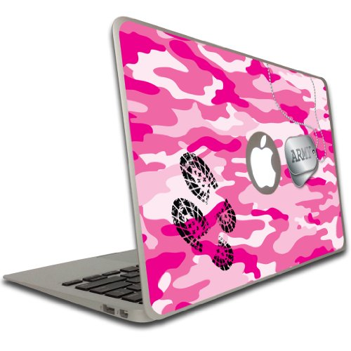 (VictoryStore Removable Vinyl Cover - Pink Camo, Army Dog Tags and Boot Print, Vinyl Decal for MacBook Pro, Size 15 Inches)