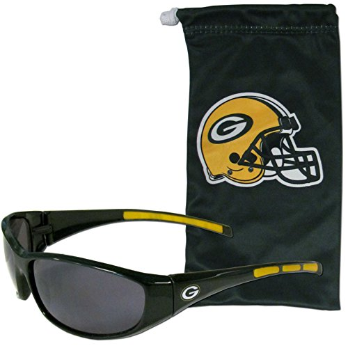 - NFL Green Bay Packers Adult Sunglass and Bag Set, Green