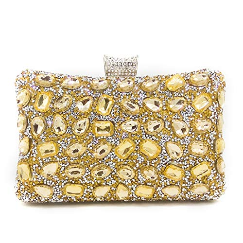 Evening Diamante Wedding Gold Clutch Banquet Clutch Party Bags Women Rhinestone EqCB5ES