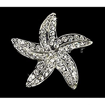 d7d780989 Image Unavailable. Image not available for. Color: Crystal Starfish Bridal  Beach Brooch