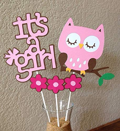 3pcs JeVenis It's a girl cake topper its a girl owl cake topper Owl Cake Topper Baby Shower Cake Topper for girl baby shower decoration ()