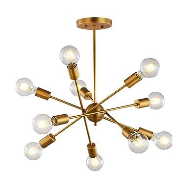 Modern Chandelier 10-Light Pendant Lighting Sputnik Light Vintage Ceiling Light Fixture UL Listed