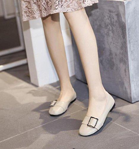 Chaussures Plat ZFNYY Collège Aide Chaussures Profonde Femme Beige Vent Loisirs Faible Fond Bouche étudiant Peu Ronde 66Rr7Fxw