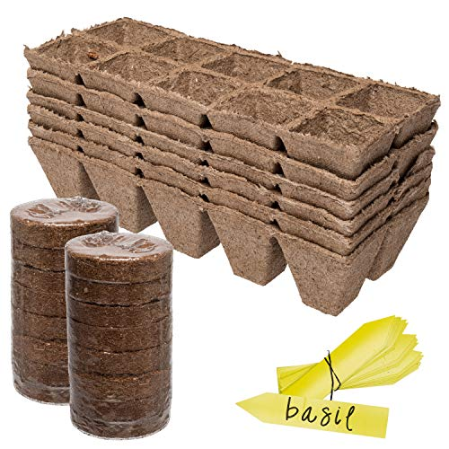 $16.98 Germination Tray & Soil Starter Pack | 6 Pack of 10 Cell Starter Peat Trays (60 Cells) – 16 Peat Wafer Soil Disks & 10 Easy Read Label Tags | Reusable Potting Seed Starters & Soil 2019