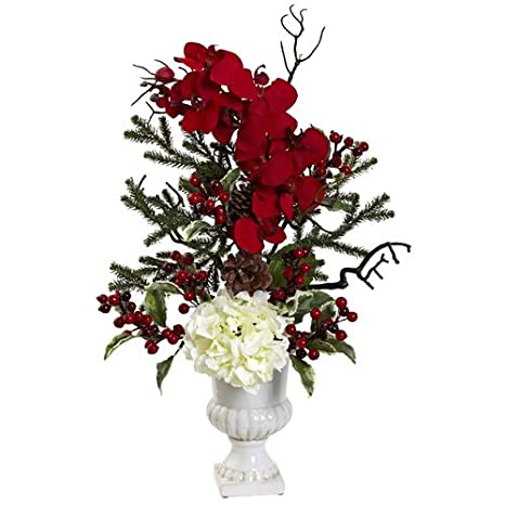 Nearly Natural 1384 Holiday Elegance Arrangement with Urn, Red
