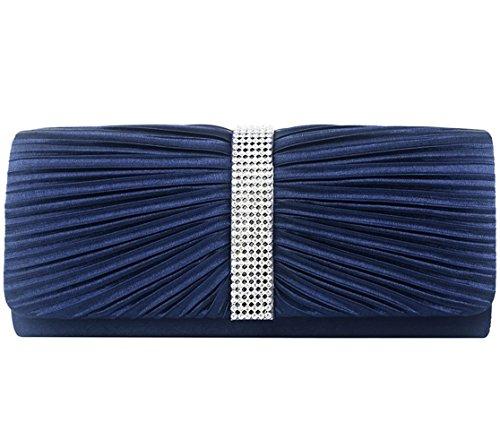 Jubileens Women's Pleated Satin Clutch Rhinestine Crystal Evening Handbag Purse (Navy blue)