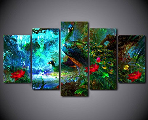 5PCS Framed Colorful Two Peacock Canvas Prints - 5 Piece Peacock Spread Artwork Canvas Prints Peacock Pictures Paintings on Canvas Wall Art for Office and Home Wall Decor (8x14x2, 8x18x2, 8x22inch)