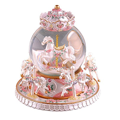 Glass Ornament Carousel (SUPOW Rotate Music Box, Luxury 6-horse Carousel Crystal Ball Gemstone Carousel Horse Glass Ball Doll with Castle in the Sky Tune, 6.35.9