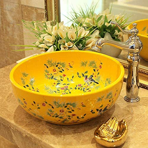 ZKS-KS 中国陶磁器絵画アートトイレ浴室船シンクラウンドカウンターの花と鳥の浴室のシンク、セラミック洗面台をボウル