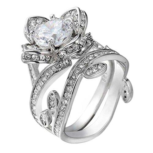 Price comparison product image Beuu Female Engagement Ring Lotus Silver Color Titanium Steel Wedding Jewelry (7)