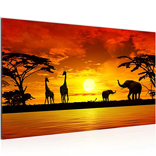 Runa-Art-Bild-Afrika-Sonnenuntergang-Wandbild-Vlies-Leinwand-Bilder-XXL-Format-Wandbilder-Wohnzimmer-Wohnung-Deko-Kunstdrucke-Orang-1-Teilig-Made-in-Germany-Fertig-Zum-Aufhngen-000214a