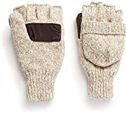 Hot Shot Men's The Sentry Wool Fingerless Pop-Top Mittens – Oatmeal, Insulated for Cold Outdoor Weather