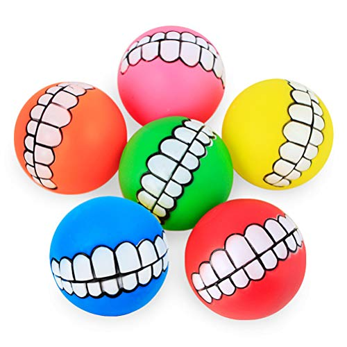 Dengguoli 6 Pack Funny Puppy Squeaky Teeth Tennis Ball Toys - 6 Colors Chew Resistant Dog Toys
