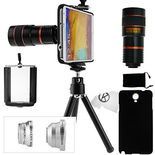 Samsung Galaxy Note 3 Camera Lens Kit- 8X Telephoto Lens, Fisheye Lens, Wide Angle Lens & Macro Lens, and Accessories (Black)