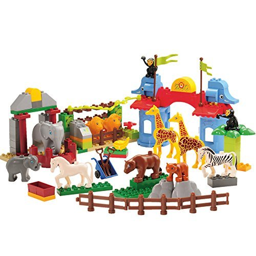 Constructive Playthings MGA-35 Cp Toys 105 Piece Preschool Zoo Building Bricks Set