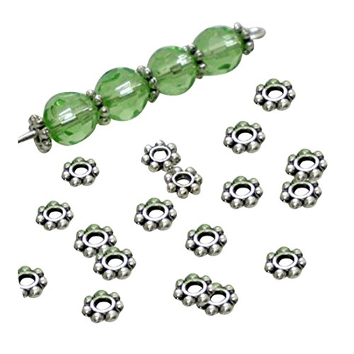 Molyveva 200Pcs Wholesale Spacer Beads - Gold Silver Plated Metal Daisy Beads DIY Jewelry Making - 4mm (Silver)