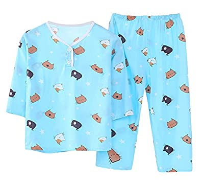 LLIOFUS Little Boys&Girl Cartoon Soft cotton Pajama Buttom Neck Home set 6M-6T