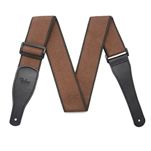 - BestSounds 100% Cotton Guitar Strap, Top Grade Guitar Strap with Leather Ends Concise Style Adjustment for Bass, Electric & Acoustic Guitar, Soft Cotton Guitar Strap (Brown)