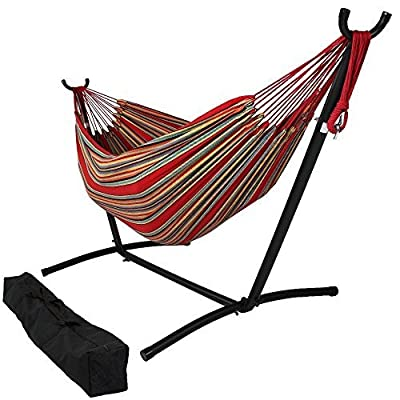 OceanTailer Brazilian Double Hammock Bed with Stand for 2 Person, Portable Hammock Bed for Indoor or Outdoor Use with Carrying Pouch in Tropical Color - Our 2 person Hammock Bed are not only comfortable but also insanely pleasing. Portable Hammock Bed for Indoor or Outdoor Use with Carrying Pouch. Camping or hiking, the amazing use of Hammock Bed is obvious a great deal to have around to travelers. - patio-furniture, patio, hammocks - 51aNNFR0s8L. SS400  -
