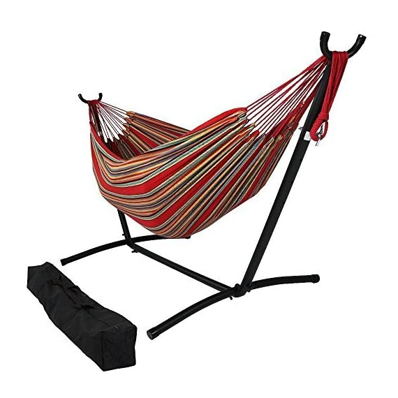 OceanTailer Brazilian Double Hammock Bed with Stand for 2 Person, Portable Hammock Bed for Indoor or Outdoor Use with Carrying Pouch in Tropical Color - Our 2 person Hammock Bed are not only comfortable but also insanely pleasing. Portable Hammock Bed for Indoor or Outdoor Use with Carrying Pouch. Camping or hiking, the amazing use of Hammock Bed is obvious a great deal to have around to travelers. - patio-furniture, patio, hammocks - 51aNNFR0s8L. SS570  -