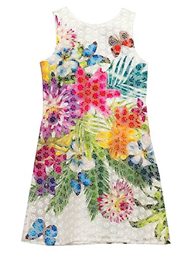 Rare Editions Big Girls White Lace Floral Shift Dress (12)
