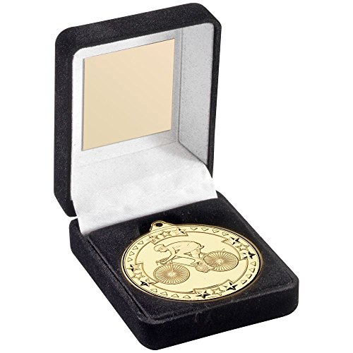 Lapal Dimension BLACK VELVET MEDAL BOX AND 50mm MEDAL CYCLING TROPHY - GOLD - 3.5in by Lapal Dimension