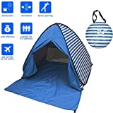 FLYTON Pop Up Beach Tent Shade Sun Shelter UV Protection Canopy Cabana 2-3 Person for Adults Baby Kids Outdoor Activities Camping Fishing Hiking Picnic Touring