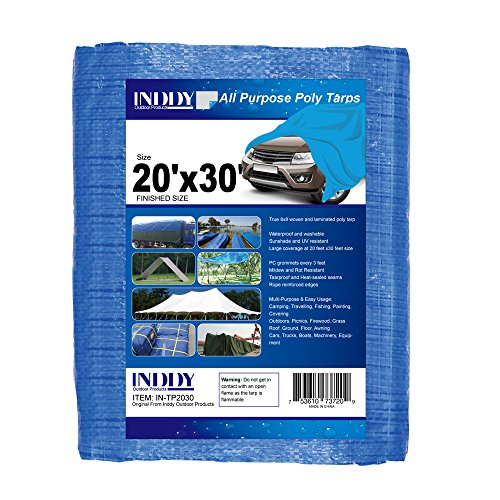 30' Canvas (Inddy Tarps 20 x 30 Feet Blue Canvas Tarp Waterproof Poly Tarp Cover 5 Mil Thick 8 x 8 Weave Heavy duty tarp for camping shelter tent car boat truck cover sunshade and UV Resistant)