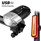USB Rechargeable Bicycle Light Set, Megulla Bike Front and Rear Lights, 800 Lumens
