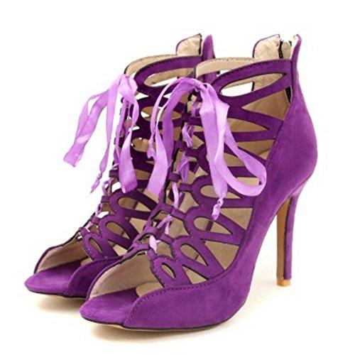 purple Moda Donna Zanpa Caviglia Gladiator Sandali 3 qY5xz7