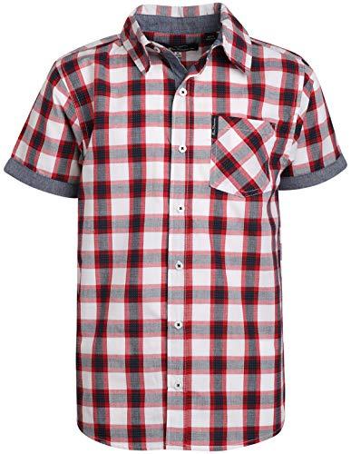 Ben Sherman Boys Short Sleeve Button Down Shirt (Red/Blue Plaid, 10/12)'