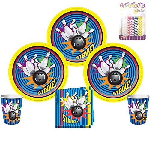 Bowling Party Supplies Pack Serves 16: Dinner Plates Luncheon Napkins and Cups with Birthday Candles (Bundle for 16)