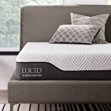 LUCID 10 Inch California King Hybrid Mattress - Bamboo Charcoal and Aloe Vera Infused Memory Foam