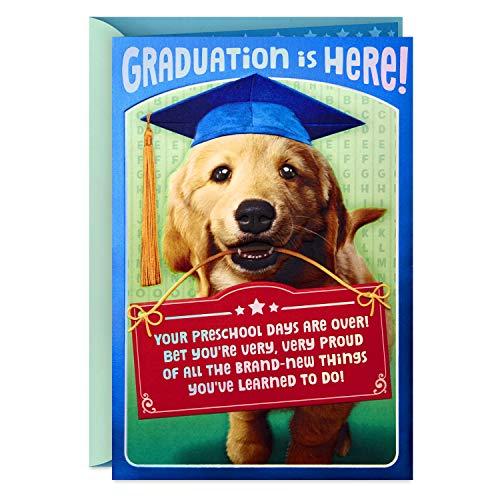 Hallmark Preschool Graduation Card (Removable Dog Sticker)