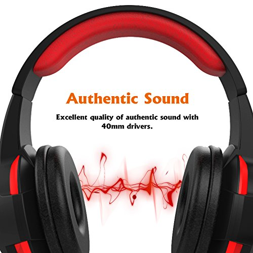 Kworld G16 PC Gaming Over-Ear Headset with 40mm Driver & LED light emphasis on Authentic Surround Sound, Volume Control and Noise Isolation, Black