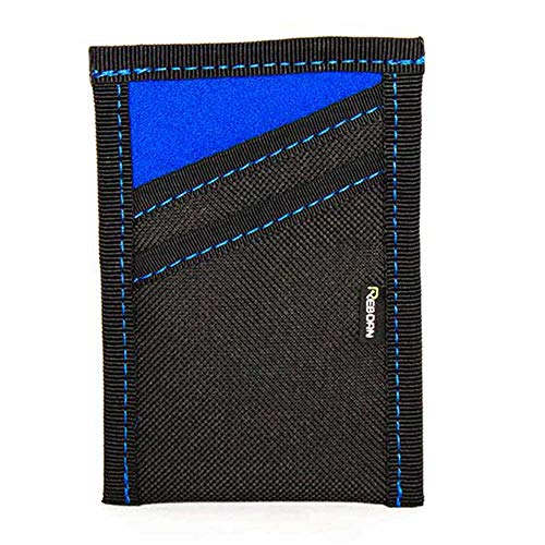 Reborn Rubber Slim Minimalist Front Pocket Wallet Made From Scrap Wetsuit Neoprene and Recycled Polyester (Blue with Blue Stitch)