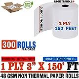 3'' x 150' 1-Ply Bond (300 Rolls), Works for Epson TM-U200B, Epson TM-U200D, Epson TM-U210, Epson TM-U220 - RegisterRoll Same Day (300 Rolls)