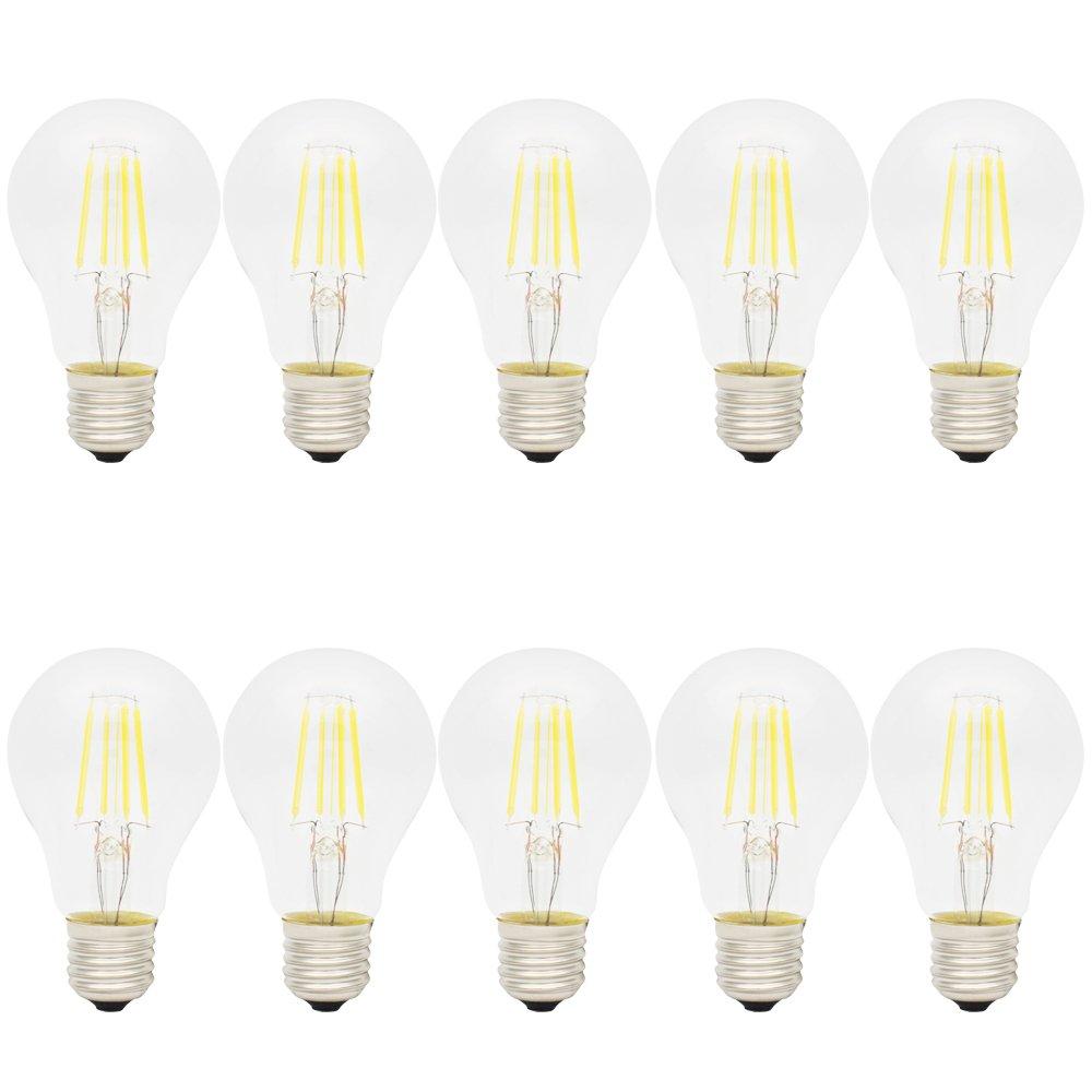 10X E27 Ampoule Edison Retro 4W Ampoule à Filament LED A60 Edison LED Haute Illumination 400LM Blanc Froid 6500K Vintage Lamp AC 220V