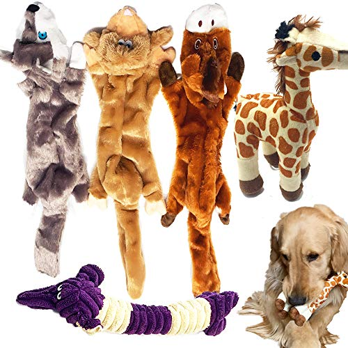 Jalousie 5 Pack Dog Squeaky Toys Three no Stuffing Toy and Two Plush with Stuffing for Small Medium Large Dog Pets New (Combo B)